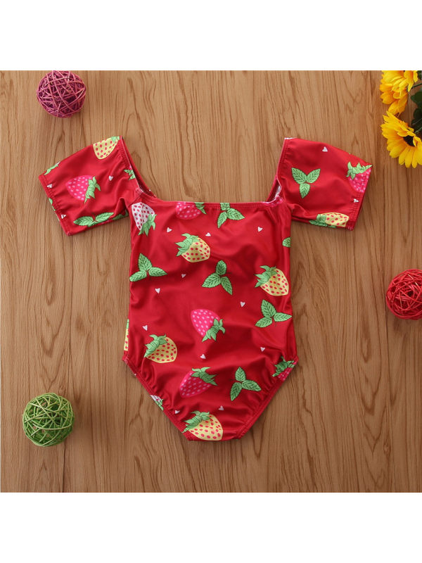 【18M-7Y】Girls Strawberry Full-print Short-sleeved One-piece Swimsuit