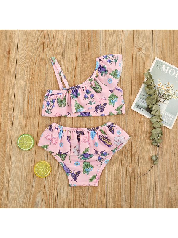 【12M-7Y】Girls Butterfly Full-print Oblique Shoulder Split Swimsuit