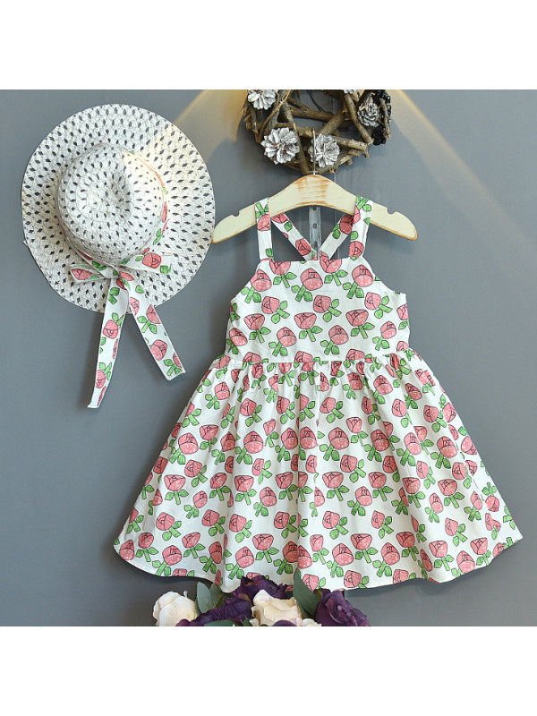 【18M-7Y】Sweet Flower Print Sling Dress With Hat