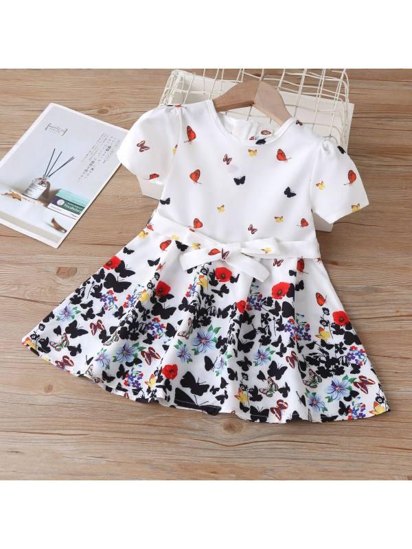 【18M-7Y】Girls Short Sleeve Butterfly Print Dress