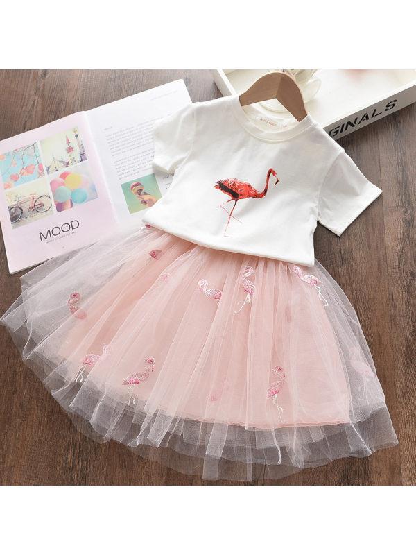 【18M-7Y】Girls Cartoon Flamingo T-shirt Mesh Skirt Two-Piece Set