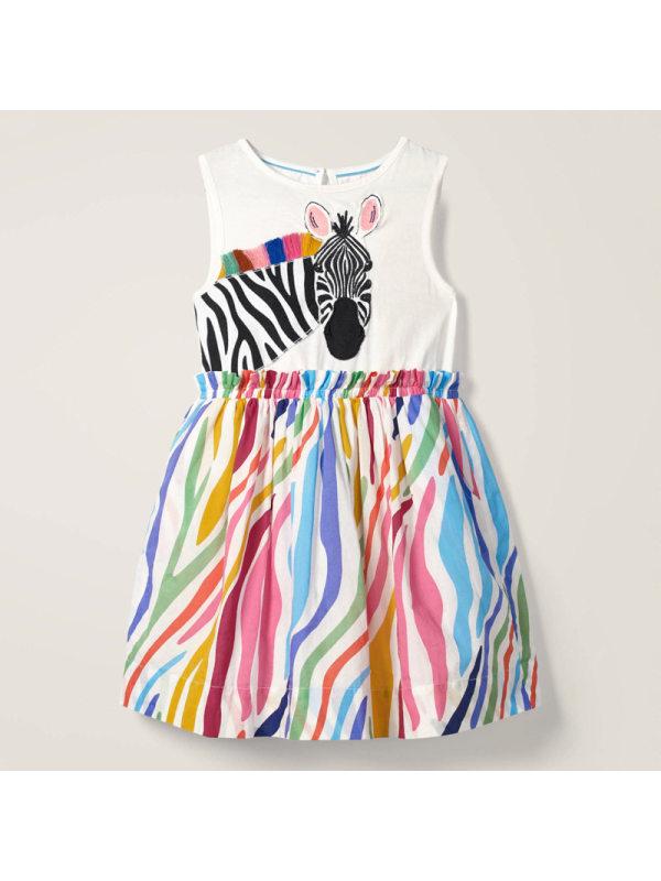 【18M-9Y】Girls Zebra Print Stitching Sleeveless Dress