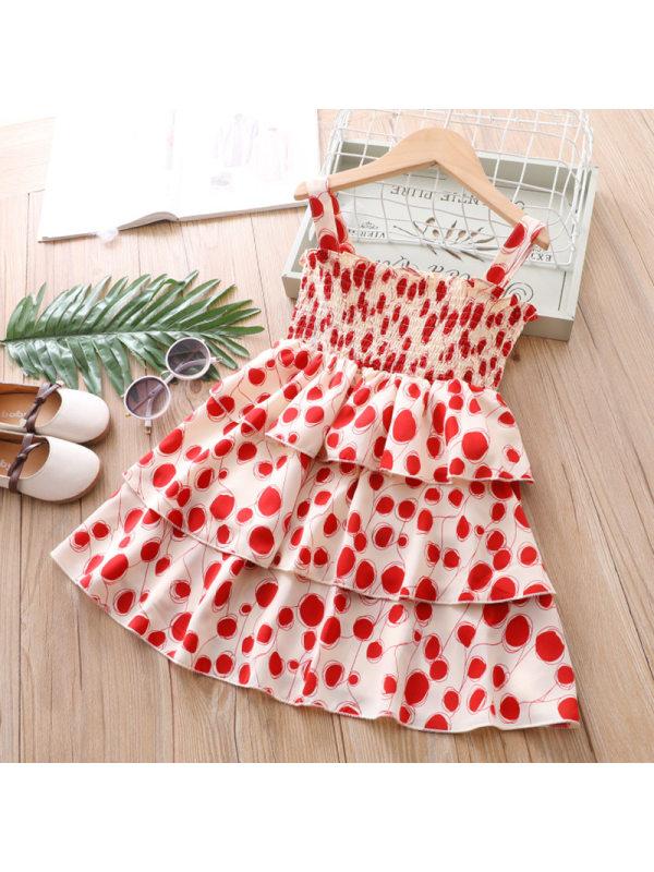 【3Y-13Y】Girls Fresh Sweet Polka Dot Camisole Cake Dress