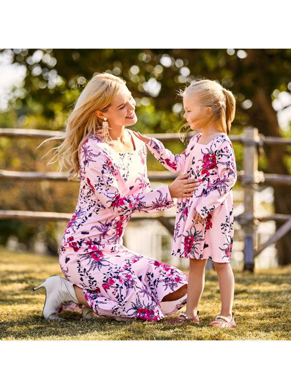 Body-printing Long-sleeved Hip-leaf Edifying Mom Girl Matching Dress