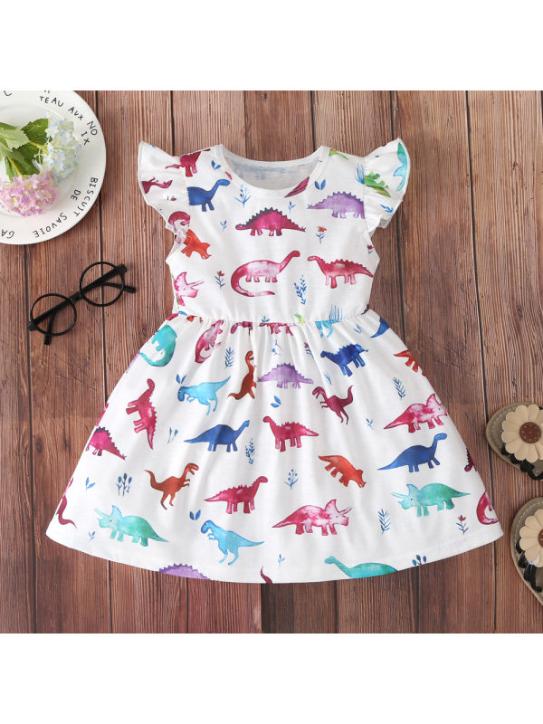 【18M-7Y】Girls Colorful Dinosaur Full-Print Flying Sleeve Dress