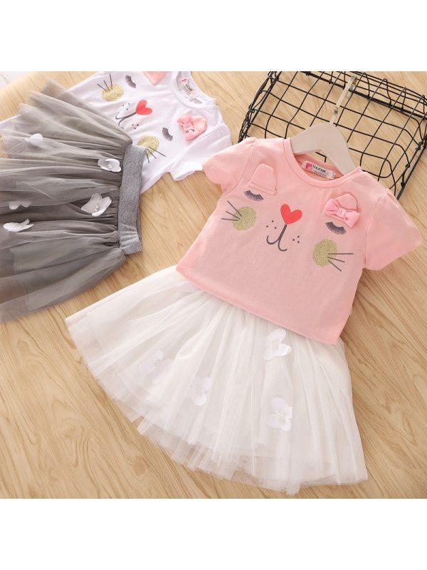 【2Y-9Y】Cute Cartoon Printed T-shirt and Mesh Skirt Set