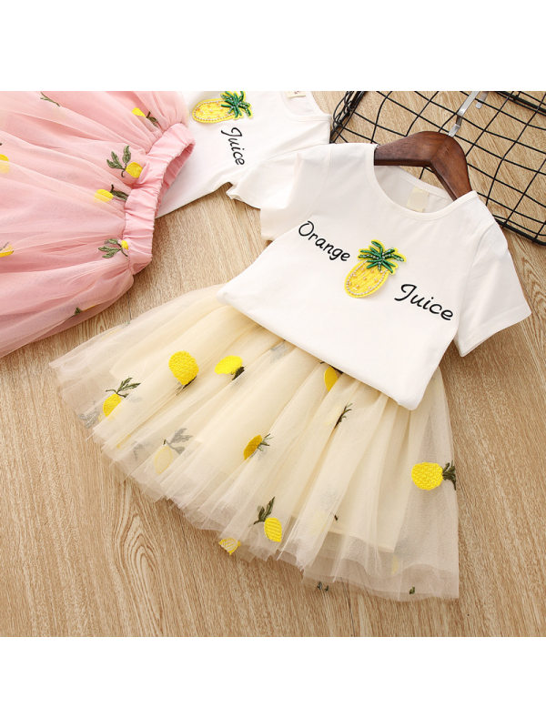 【18M-7Y】Girls Pineapple T-Shirt Pineapple Embroidery Skirt Suits