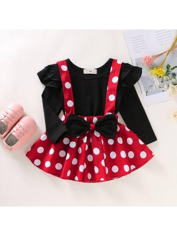 【12M-4Y】Girls Solid Color Lace Top Polka Dot Suspender Skirt Set