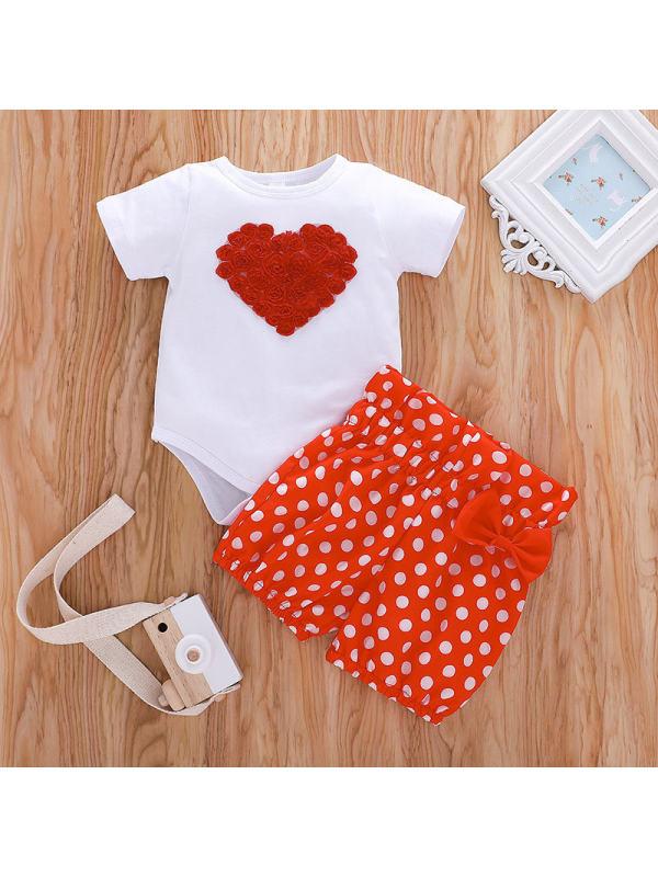 【6M-3Y】Baby Girls Heart Pattern Short Sleeve Romper Shorts Set