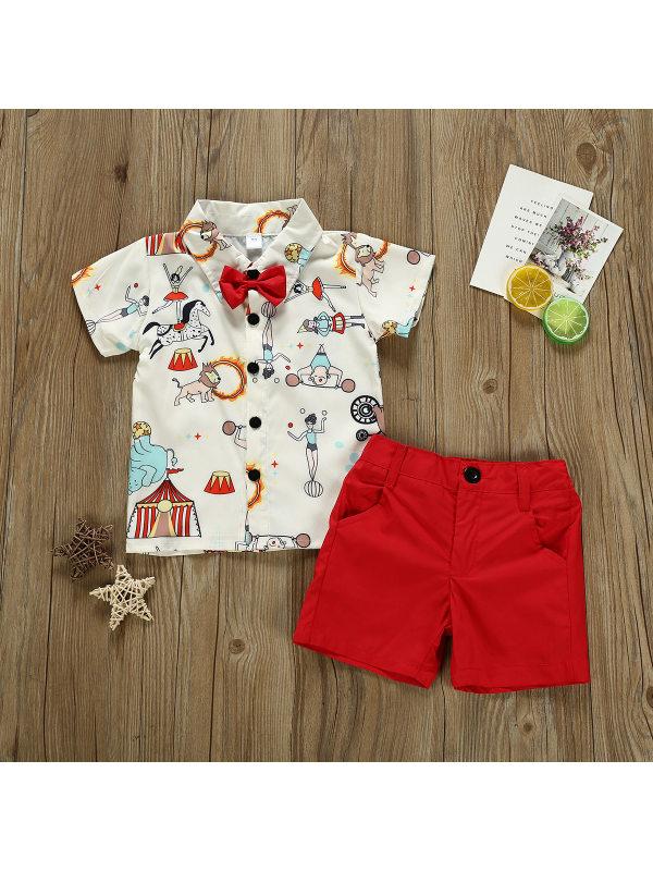 【12M-5Y】Boys Cartoon Circus Full Print Short Sleeve Shirt Shorts Set