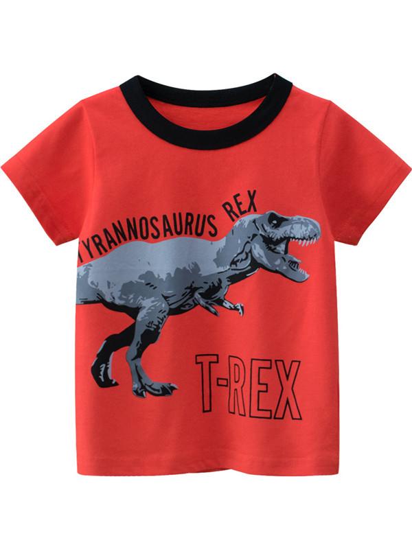 【18M-9Y】Boys Dinosaur Letter Print Casual T-Shirt