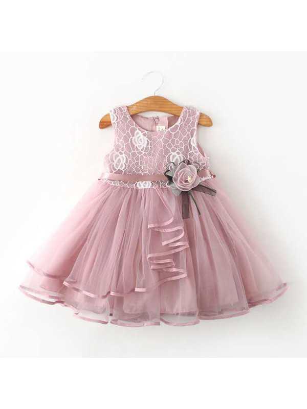 【18M-7Y】Girls Sweet Sleeveless Lace Mesh Stitching Dress