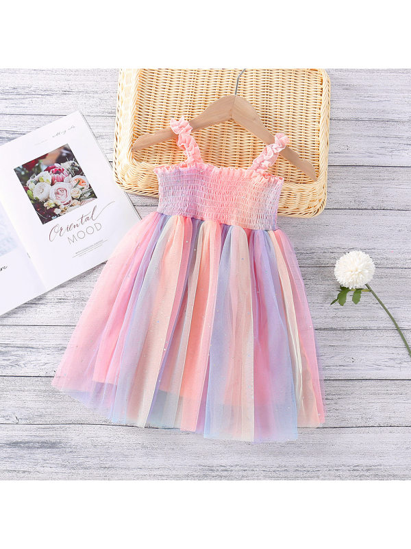 【18M-7Y】Girls Rainbow Glittering Mesh Sling Dress - 33111