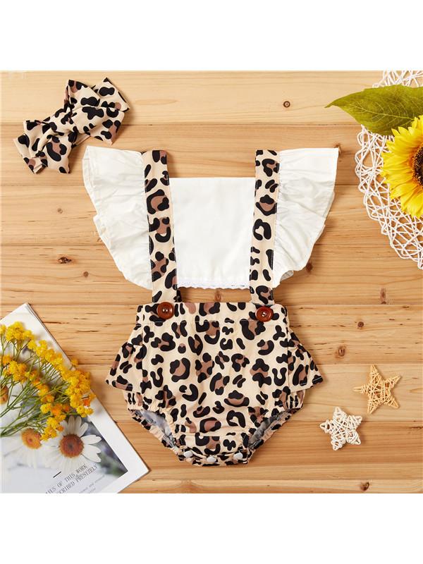 【6M-3Y】Girls Leopard Print Little Flying Sleeve Suit - 3457