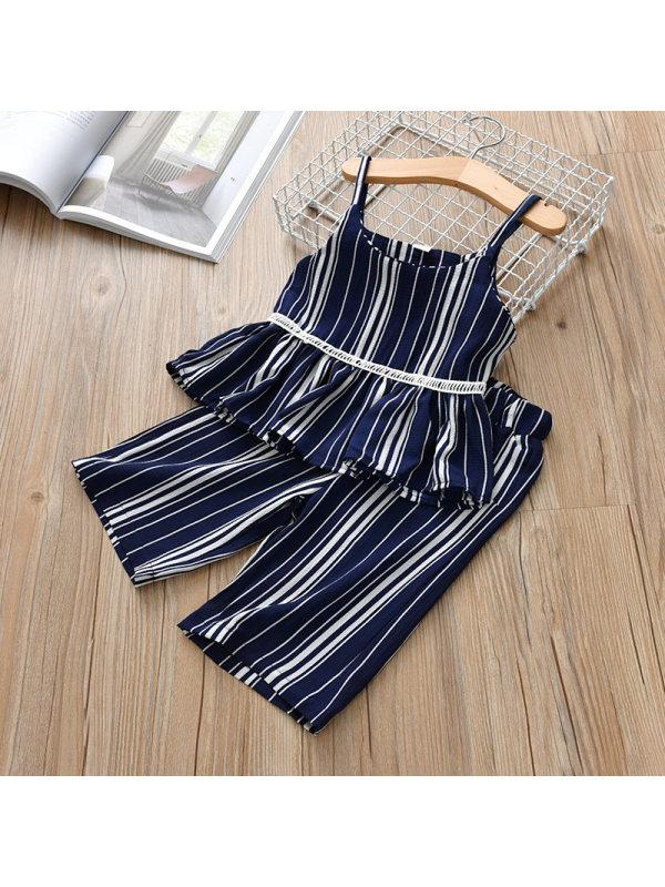 【2Y-9Y】Sweet Striped Slingr Top and Pants Set - 3444