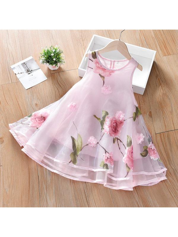 【18M-11Y】Girls Fresh Sweet Flowers Full Print Sleeveless Mesh Dress