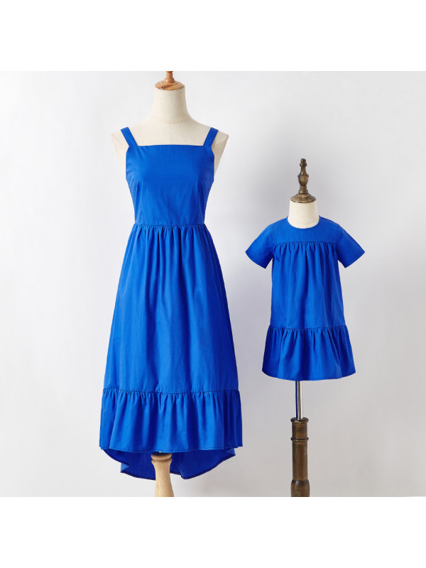 Sweet Blue Cotton Blend Mom Girl Matching Dress - 1325