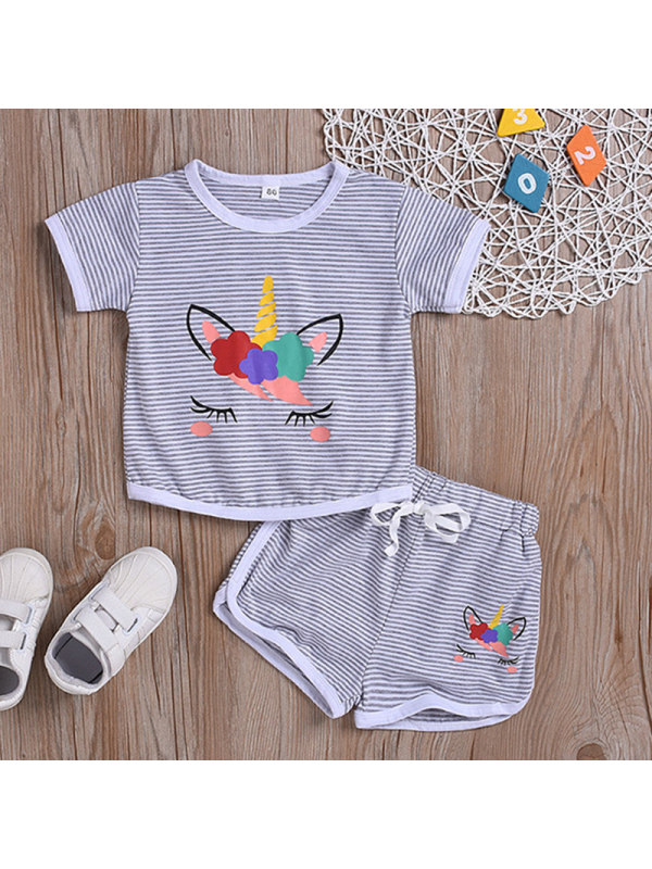 【12M-5Y】Girl Sweet Grey Striped Unicorn Print Short Sleeve T-shirt Shorts Set