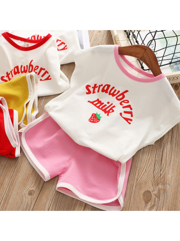 【18M-7Y】Girls Casual Letters Strawberry Print Vest Top Shorts Set - 3456