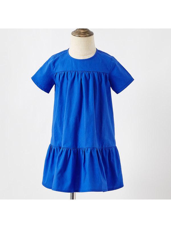 【18M-7Y】Girl Sweet Blue Short Sleeve Dress