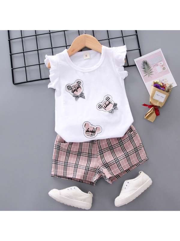 【12M-4Y】Girls Sweet Cartoon Embroidered Vest Plaid Shorts Set