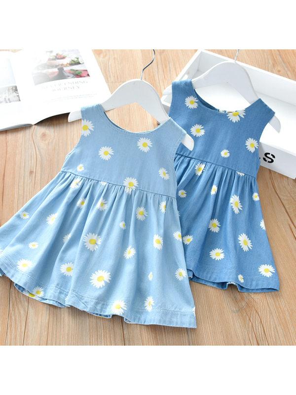 【18M-7Y】Girls Fashion Casual Daisy Full Print Sleeveless Dress - 3356