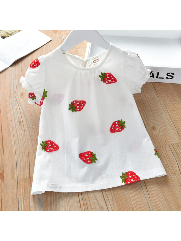 【18M-9Y】Girls Cute Sweet Strawberry Embroidered Short Sleeve Top
