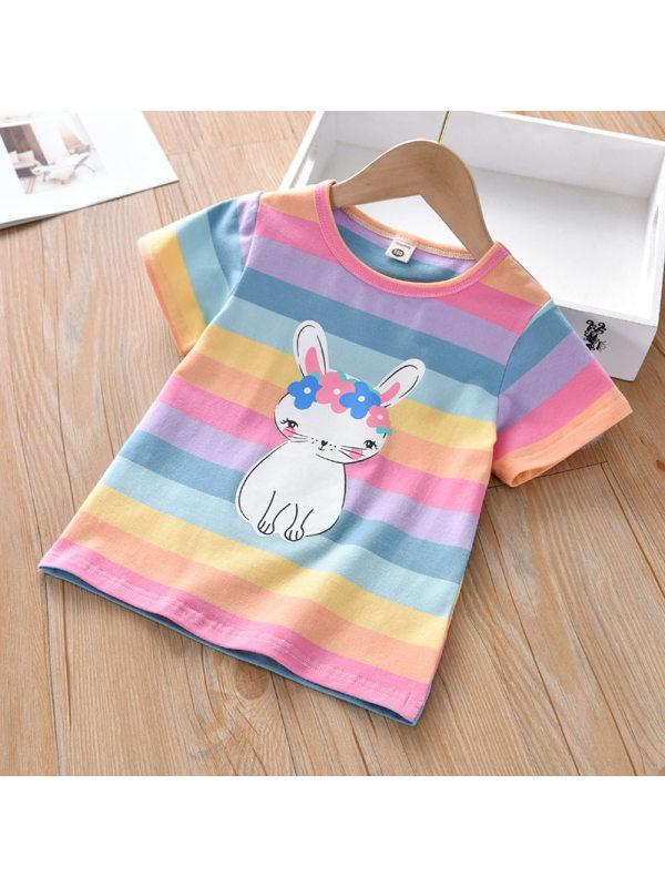 【18M-9Y】Girls Cartoon Rabbit Color Striped Short Sleeve T-Shirt