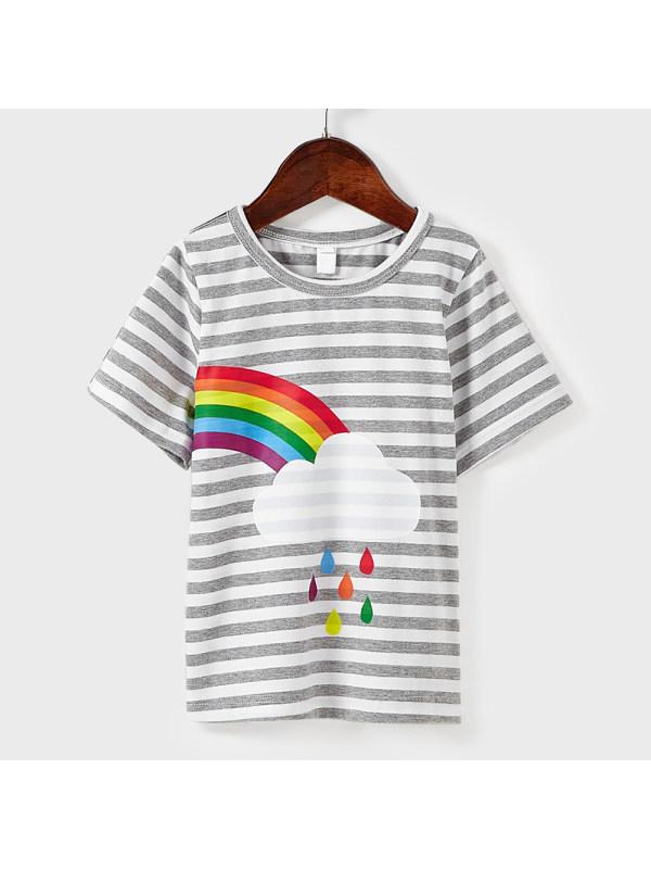 【18M-7Y】Kids Grey Striped Rainbow Pattern Short Sleeve T-Shirt