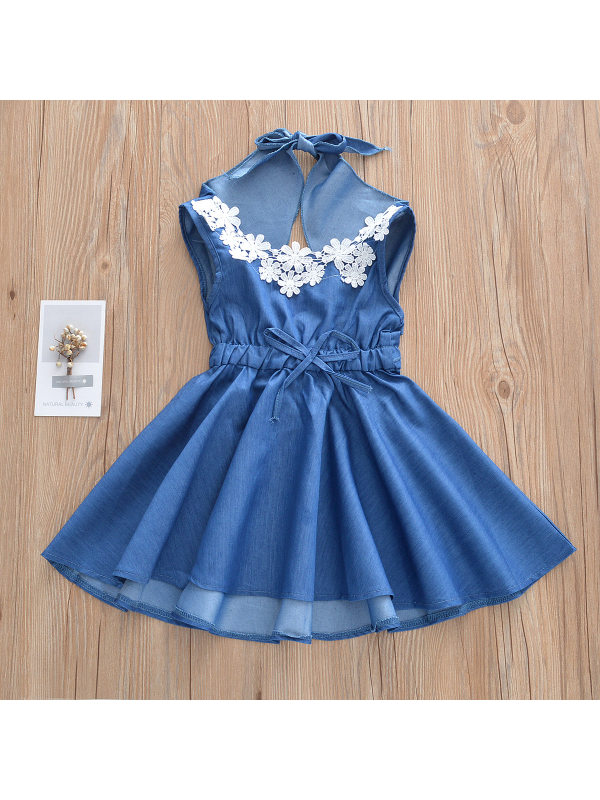 【18M-7Y】Girls Fashion Casual Sleeveless Lace Big Bow Denim Dress