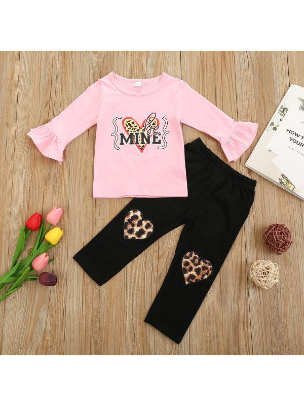 【12M-5Y】Girl Letter Leopard Print T-shirt and Pants Suit