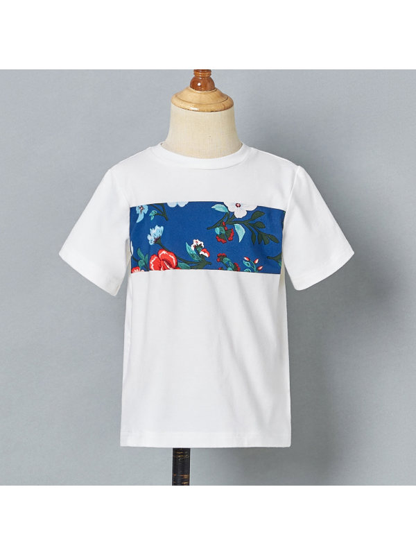 【18M-7Y】Casual White Round Neck Short Sleeve T-shirt