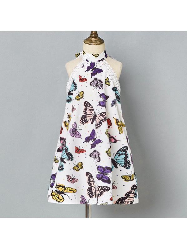 【18M-7Y】Cute Butterfly Print Halter Dress