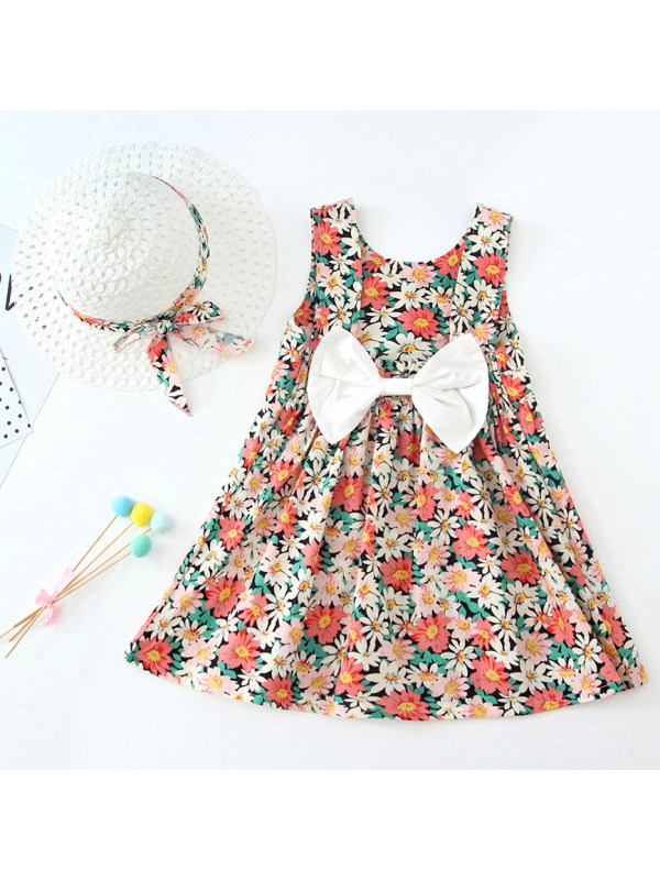 【12M-5Y】Sweet Flower Print Bow Sleeveless Dress with Hat