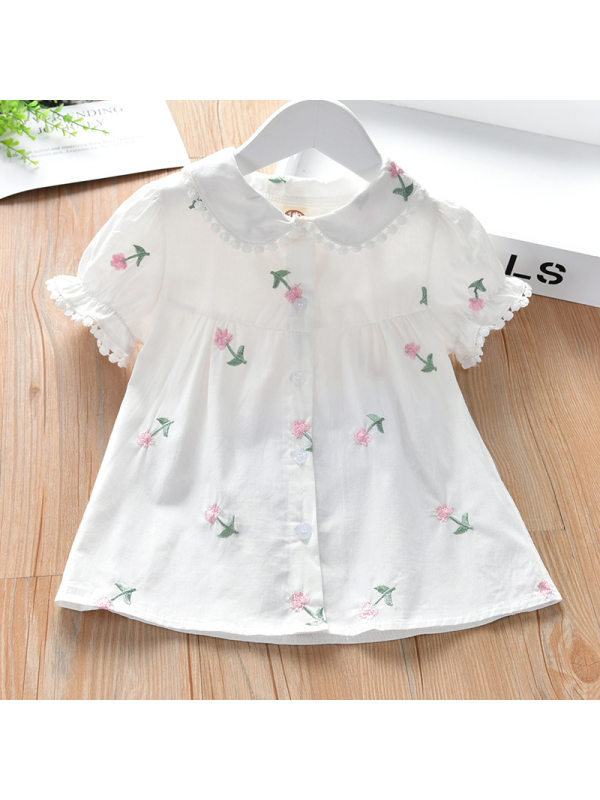 【2Y-9Y】Girls Flower Embroidery Doll Collar Short Sleeve Top - 3377