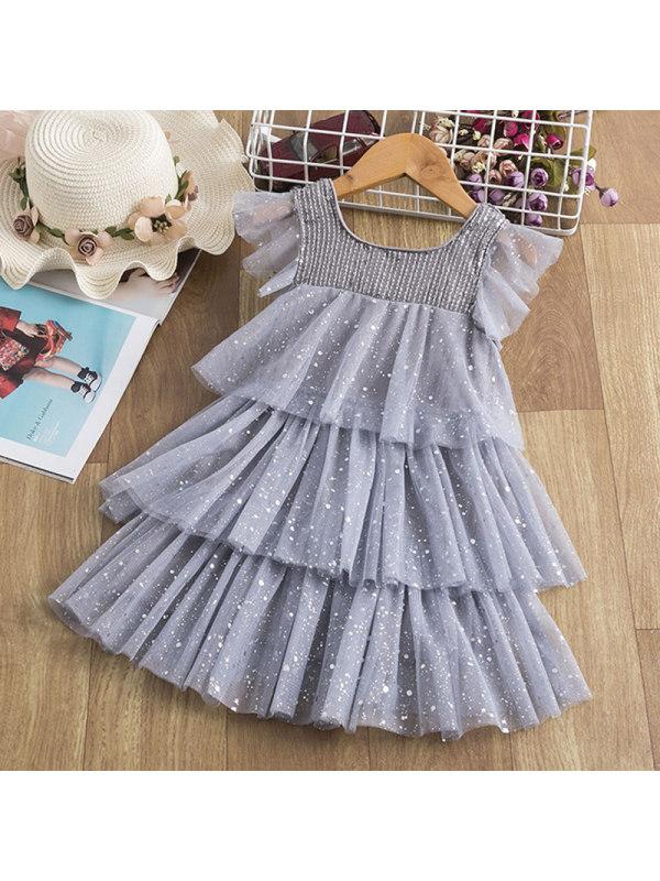 【2Y-9Y】Girl Sweet Grey Sequined Mesh Cake Dress