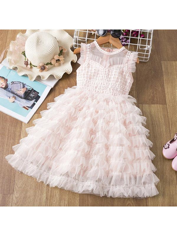 【2Y-9Y】Girl Sweet Lace Mesh Cake Dress