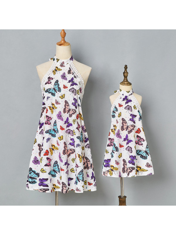 Sweet Butterfly Print Lace Backless Mom Girl Matching Dress