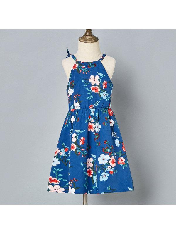 【18M-7Y】Sweet Flower Print Blue Sling Dress