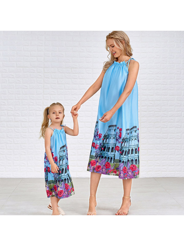 Fashion Sleeveless Printed Mom Girl Matching Dress