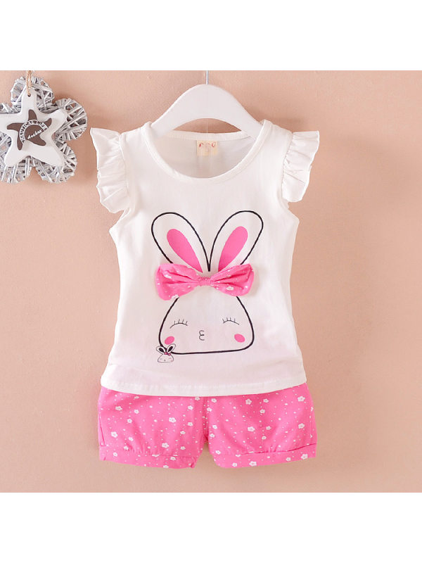 【12M-4Y】Girls Cute Cartoon Print Bow Tank Top And Shorts Set
