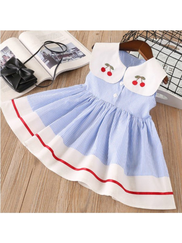 【18M-9Y】Girls Cherry Embroidered Lapel Striped Sleeveless Dress - 3353