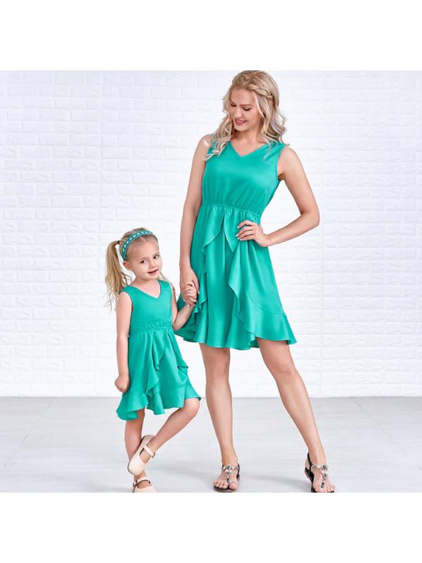 Casual V Neck Sleeveless Pure Color Ruffled Mom Girl Matching Dress - 1393