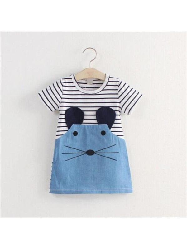 【18M-7Y】Girls Cartoon Mouse Stripe Stitching Short Sleeve Dress