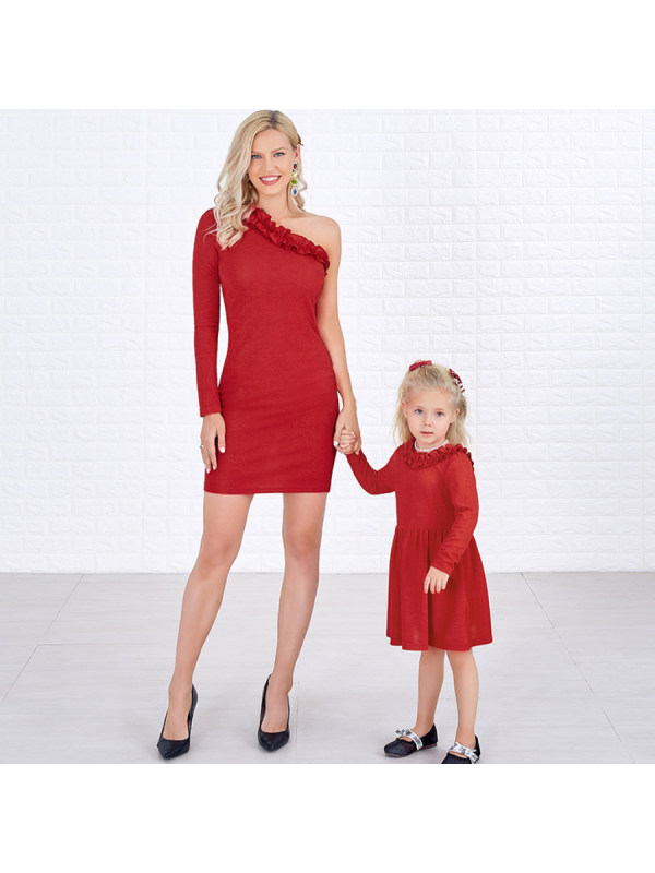 One Shoulder Ruffled Long Sleeved Red Mom Girl Matching Dress
