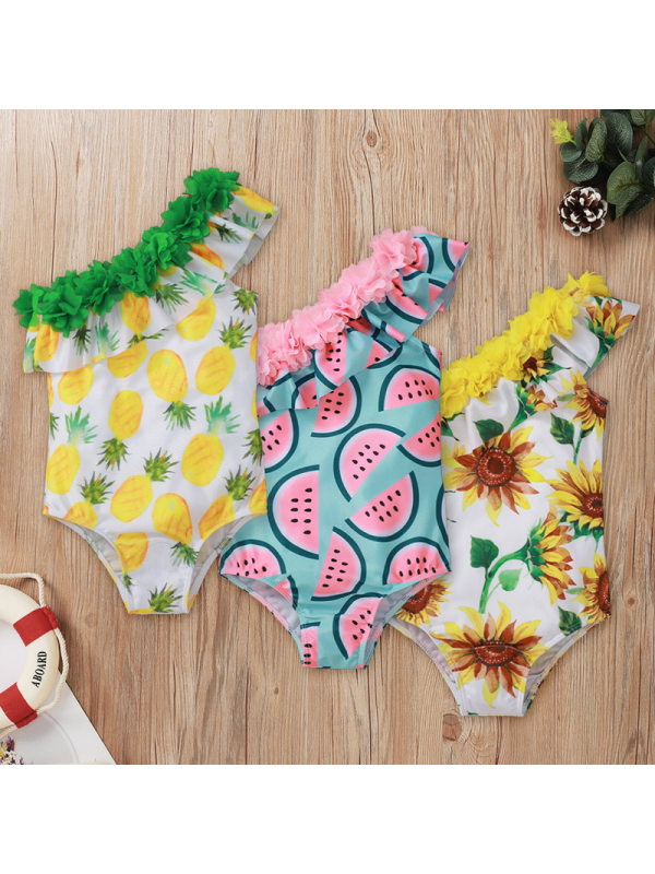 【18M-5Y】Girls Fruit Printed Lace Slanted Shoulder One-Piece Swimsuit