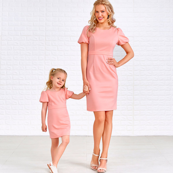 Solid Color Puff Sleeve Midi Mom Girl Matching Dress