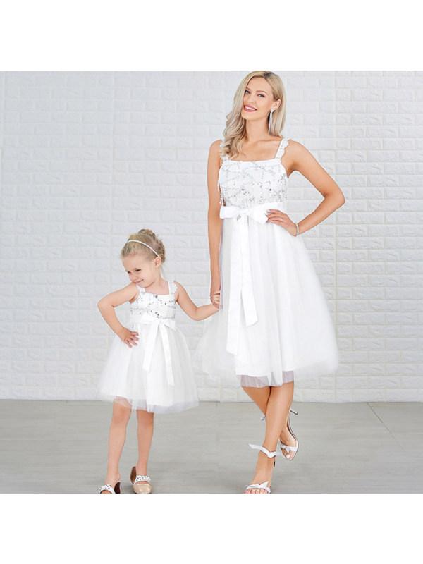 Mesh Suspenders White Sequined Mom Girl Matching Dress - 1302