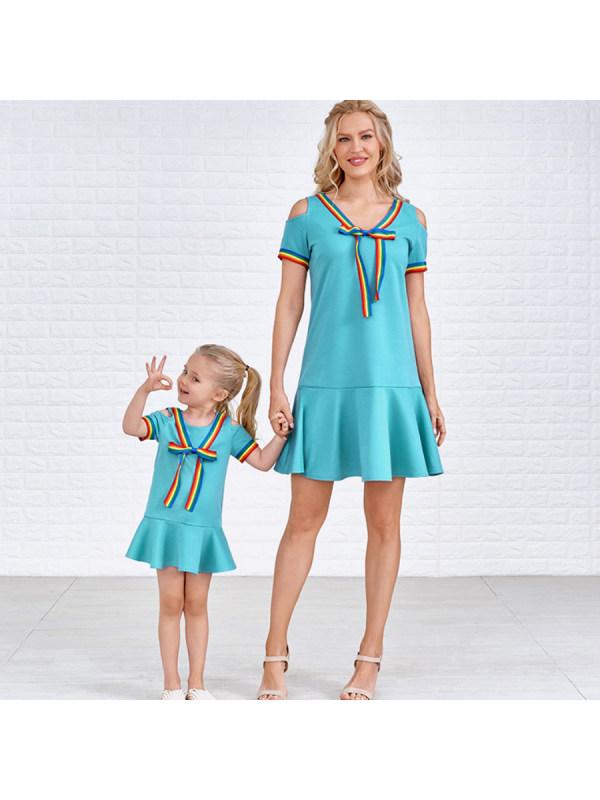 Sweet Cold Shoulder Rainbow Ribbon Ruffled Blue Mom Girl Matching Dress - 1359