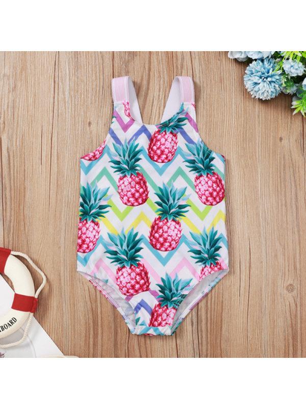 【12M-5Y】Girls Cute Pineapple Full Print One-Piece Swimsuit